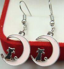 925 Silver Plated Hook 2.1 moon Simple Drop Elegant Women Earring  DJ3j
