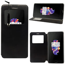 "Etui Coque View Case Flip Folio NOIR Leather Cover OnePlus 5 A5000 5.5"" + Stylet"