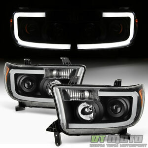 For Black 2007-2013 Toyota Tundra 2008-2017 Sequoia SMD LED Projector Headlights