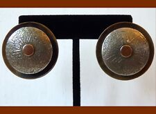 LARGE 80s Vtg MARJORIE BAER SF AZTEC MAZE Layered Mixed Metals Earrings