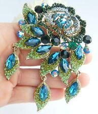 "Flower Brooch Pin Pendant 06454C5 Elegant 3.94"" Turquoise Austrian Crystal"