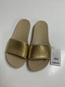 Crocs Sloane Shine Gold Mottled Low Heel Slip on Sliders Mule. UK 6, EU 38-39