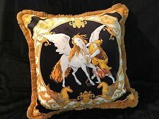 VERSACE PILLOW CUSHION PEGASUS HORSE con Flecos Almohada w 2 sides RETIRED $500