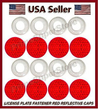 Red Reflector Fasteners Caps License Plate/Tag Frame Car/Motorcycle screw covers