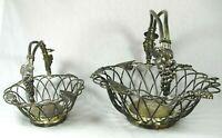 Set of 2 Vintage Godinger Silver Plated Tuscan Wired Flower Baskets Wedding