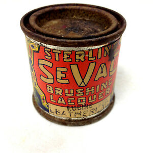 Vintage STERLING SEVAC LEATHERLAC TIN For Renewing Shoes Rubine