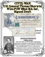 CIVIL WAR U.S. General Sherwin WIA+POW 22nd MA Inf., 1882 Signed Draft