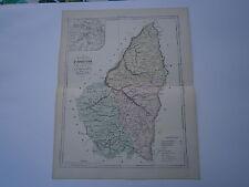 Carte 19° 1852  couleur atlas Malte brun Département de l'Ardéche plan de Privas