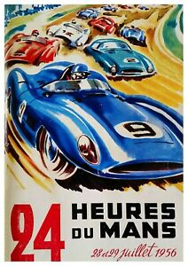"""Reproduction Vintage Motor Racing Poster, """"Le Mans 1956"""", Home Wall Art"""