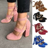 Womens Ladies Strappy Block Mid Heel Ankle Wrap Sandals Pumps Party Dance Shoes