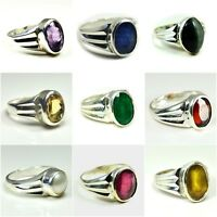Natural 925 Sterling Silver Ring Stone For Men Women Size 5,6,7,8,9,10,11,12,13