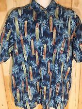 Kalaheo Hawaiian Shirt Sky Blue Palm Tree Surfboard motif Sz. L Fast Shipping!