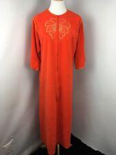 I.Appel Orange MOD Velour Long Robe Zip Front House Coat Vintage Sz S UNION MADE