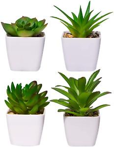 Artificial Plants Indoor in Pots, 4 PCS Mini Fake Artificial Succulent Plants UK