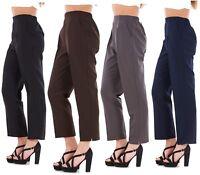 New Ladies Half Elastic Straight Leg Trousers Pants Work UK Size 12 to 24