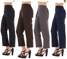 New Ladies Half Elastic Straight Leg Trousers Pants Work UK Size 12 to 24