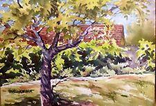 Original Watercolor Ivy Covered Wall Tracy CA Park, Plein Air Pamela Wilhelm