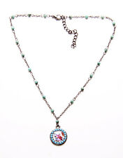 FINE FLORAL DISC TOKEN ON GUNMETAL & TURQUOISE BEAD NECKLACE, ADJUSTS 6CM (ZX42)