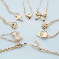Gold Tone Small Heart Bow Peace Key Skull Wing Cross Clover Wish Bone Necklace