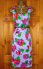 NEW DEBENHAMS LADIES LILAC PURPLE RED GREEN FLORAL VINTAGE STYLE SUMMER DRESS