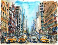 "A559-WATERCOLOR PAINTING Print, ""NYC rush hour"",Gift idea taxi birthday aceo"