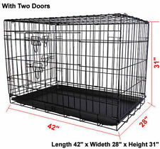 Black 2 Door Wire Folding Pets Crate Cage Suitcase Exercising Playpen Four FM Small 24""