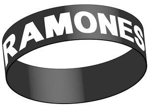 RAMONES White Logo Rubber Bracelet Wristband Rock Official Merchandise
