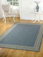 Large Petit tapis tissé à Plat Beige Naturel bleu gris vert en tailles variées