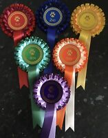 1st-6th 2 tier dog show rosettes Large 68mm Centres  *FREE 1st Class POSTAGE*