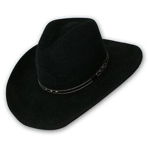 Bigalli Mens 100% Wool Western Cowboy Crushable Hat, Black Medium (7 1/8-7 1/4)