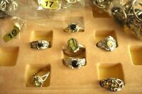 36 Steinschmuck Ringe Perlmutt ModeSchmuck Paket silber Restposten 3 Größen NEU