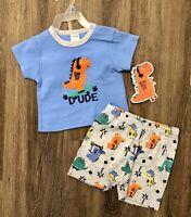 NWT Baby Boy Size 12 Month Dinosaur Dude Short Set Free Shipping!!