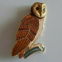Vintage Adorable Glass Embellished Gold Tone Owl On Stem Brooch Lapel Pin Signed