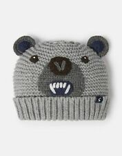 Joules Boys Chummy Knitted Character Hat - Grey Bear - 3Yr-7Yr