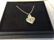 """Heart Padlock TG371 Pewter On 20"""" Silver Plated Curb Necklace"""