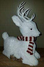 """13"""" White Deer With Scarf Paper Mache Elegant and Adorable!"""