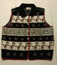 WINTER HOLIDAY VEST Size 18 Womens Snowman Snowflakes Christmas Trees