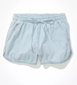 American Eagle AE Real Good chambray Vacay shorts High Waisted drawstring pocket