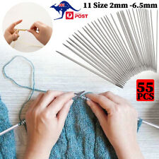 55pcs Double Pointed Stainless Knitting Needles Set 11Size 2-6.5mm Scarf Sweater