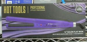 "NEW!! Hot Tools Prof 3/8"" Salon Flat Iron Ceramic Tourmaline Purple"