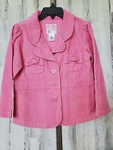 Old Navy Corduroy Pink Blazer Jacket Sz 4 Bow Pockets