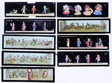 9 PLAQUES lanterne magique  vers 1870 : DIVERS ENFANTS / magic lantern