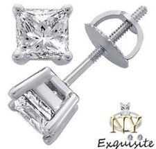 CERTIFIED .75ct  H/I1 PRINCESS-CUT GENUINE DIAMONDS IN 14K GOLD STUDS EARRINGS