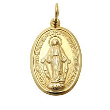 9CT GOLD MIRACULOUS MARY MEDAL PENDANT NECKLACE - MADONNA MEDAL OUR LADY
