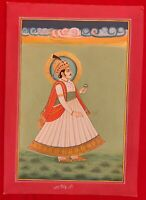 Hand Painted Rajasthani Maharajah King Portrait Miniature Painting India Mewar