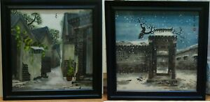 2 Chinese Houses Landscape Painting Watercolor Signed Anguyu Angu 安古語
