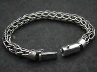 "New Fine Pure S925 Silver 9mm Rolo Circle Link Man's Chain Bracelet/ 8.6""L/ 39g"