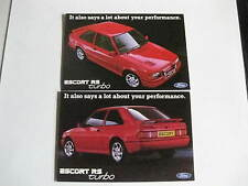 FORD ESCORT RS TURBO ORIGINAL RARE ADVERT FACTORY POSTCARD.FRONT & REAR VIEW