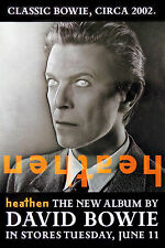 DAVID BOWIE  -  HEATHEN  -  ORIGINAL ROLLED ROCK PROMO POSTER (2002)