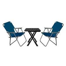 3tlg Garnitur Tisch 45x43,5cm Grau + 2 Stühle Blau Camping Reise Balkon klappbar